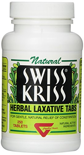 Swiss Kriss Herbal Laxative Tablets, 250 Count (Pack of 12)