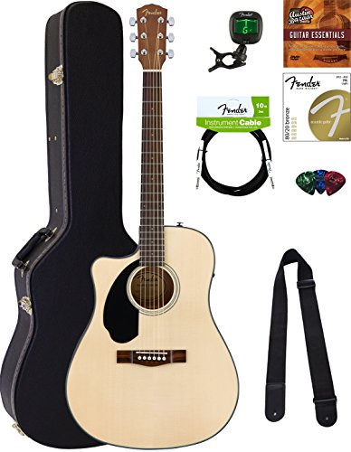 Fender CD-60SCE Dreadnought Acoustic-Electric Guitar - Left Handed, Natural Bundle with Hard Case, Cable, Tuner, Strap, Strings, Picks, Austin Bazaar Instructional DVD, and Polishing Cloth