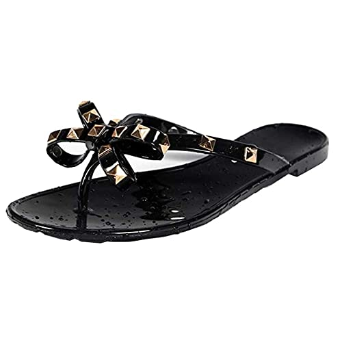 717d099c1ead8a Women Stud Flat Flip-Flops Rivet Bow Sandal Beach Jelly Slip On Thong Shoe  Black
