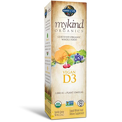 Garden of Life D3 Vitamin - mykind Organic Whole Food Vitamin D Supplement with Plant Omegas, Vegan, Vanilla, 2oz Liquid