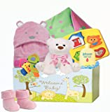 Welcome Baby, Baby Girl's ''Welcome Baby'' Super Deluxe Gift Basket, Pink