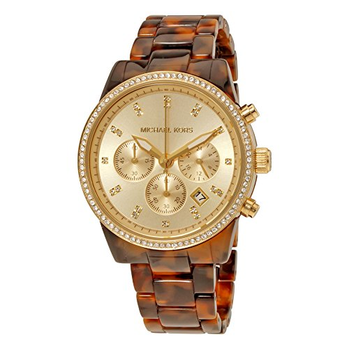 Michael Kors Champagne Chronograph Dial Tortoise Acrylic Ladies Watch MK6346