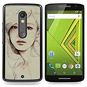 FOR Motorola Verizon DROID MAXX 2 / Moto X Play Queen Pattern - Watercolor Painting Sad Depression Woman - Doble capa de armadura de la cubierta del caso del protector -