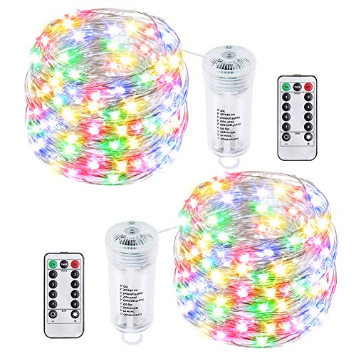buways 2 Pack Battery Operated Fairy String Lights with Remote, Waterproof 8 Modes 75 LED 24.6ft Copper Wire Firefly Lights for Wedding Christmas Party Bedroom Indoor Outdoor Decor (Multi Color)