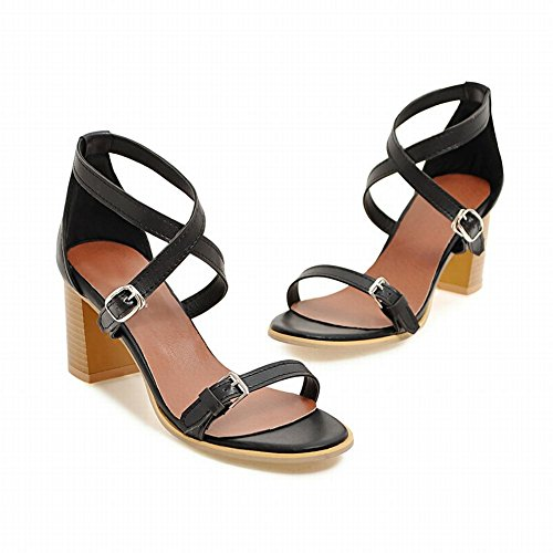 Carolbar Women's Casual Concise Block High Heel Buckles Summer Sandals Black f15rx