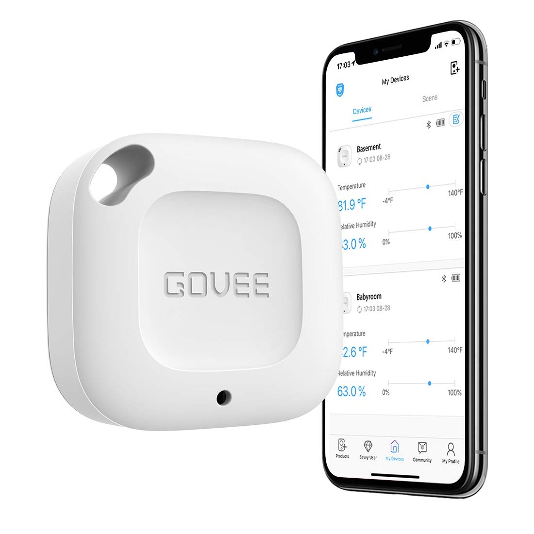 Govee Wireless Thermometer Hygrometer, Mini Bluetooth Humidity and Temperature Sensor with Data Export for iOS Android, Temp Humidity Monitor with Alert for House Wine Cigar Living Room Baby Room by Govee