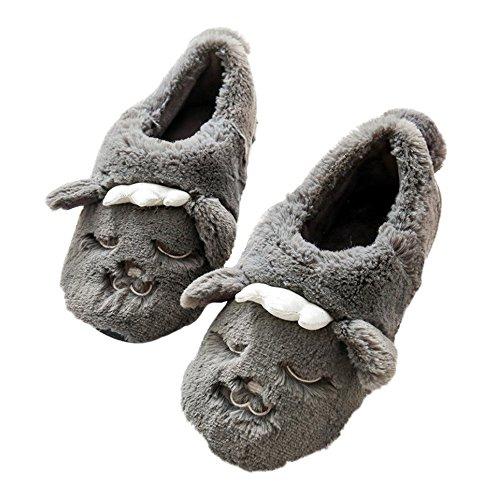 bestfur Womens Thickened Warm Plush Cute Wolf Home Slippers Gray 6jnxqP2Eg