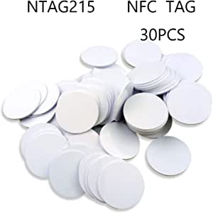 Ntag215 NFC Tags,Blank PVC Coin NFC Cards 30mm(1.18 inch) Compatible with Amiibo and TagMo,504 Bytes Memory,Compatible with All NFC Enabled Mobile Phones & Devices-(30PCS)