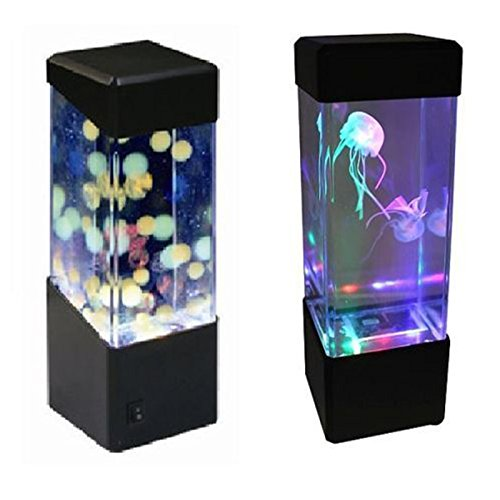 Zehui None Bedside Cabinet Nightlight LED Mini Fish Tank Light Box Water Ball Aquarium Jellyfish Lamp, Colorful
