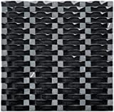 Black Obsidian Ripple Series 3D Wave Backsplash Glass Stone Mosaic Tile for Kitchen Bathroom (1 Box / 8 Sheets)