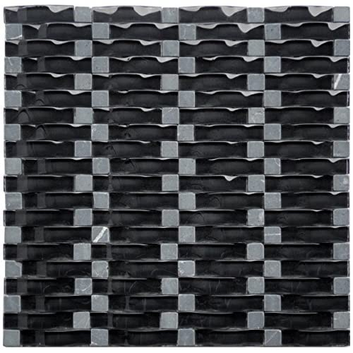 cheap Black Obsidian Ripple Series 3D Wave Backsplash Glass Stone Mosaic Tile for Kitchen Bathroom (1 Box / 8 Sheets)