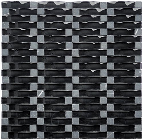 1 Tile Box - Black Obsidian Ripple Series 3D Wave Backsplash Glass Stone Mosaic Tile for Kitchen Bathroom (1 Box / 8 Sheets)