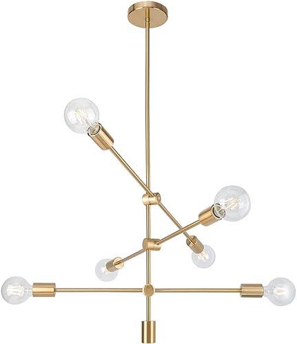 Sputnik Chandelier 6- Light Mobile Chandelier Lighting Fixture for Dining Room Brass Ceiling Lighting for Bedroom Hallway Kitchen Living Room