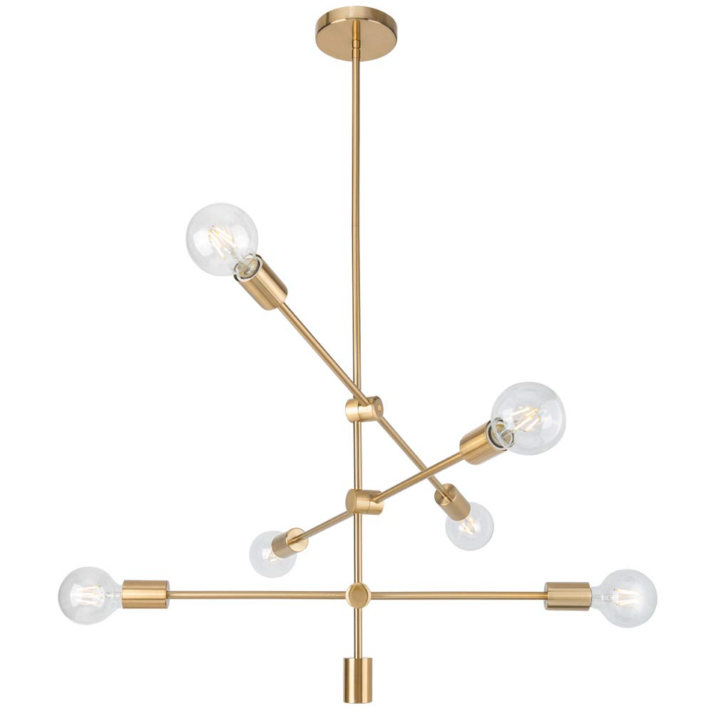 Mobile Sputnik Chandeliers Light Fixture 6 Lights,Brass Modern Ceiling Lamps,Gold Mid Century Pendant Lightings for Bedroom Hallway Bar Kitchen Dining Living Room,UL Listed