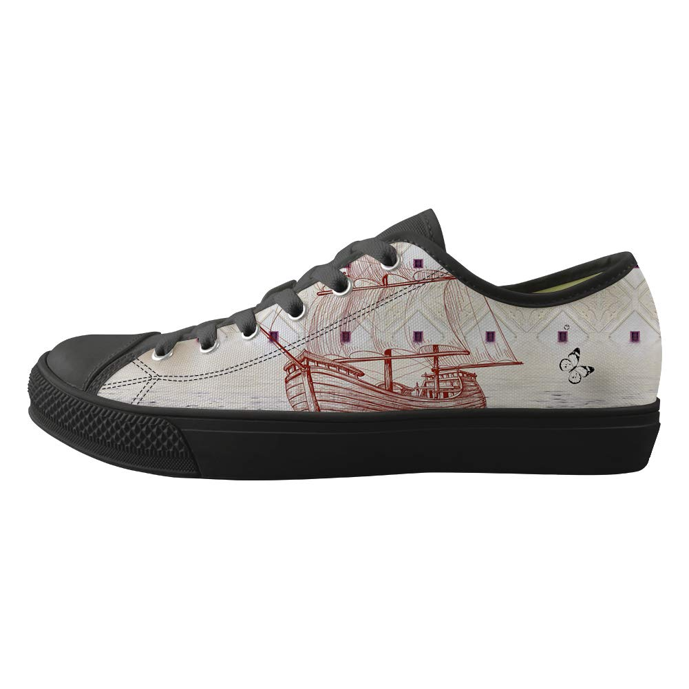 Classic Sneakers Unisex Adults Low-Top Trainers Skate Shoes May Flower Sailboat Butterfly