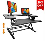 Standing Desk Preassembled Height Adjustable Sit Stand Up Desk Riser Stand Fit Two Monitors Adjustable Standing Desk Converter Topper Black 36'' x 25'' By SITA OFFICE (Black)