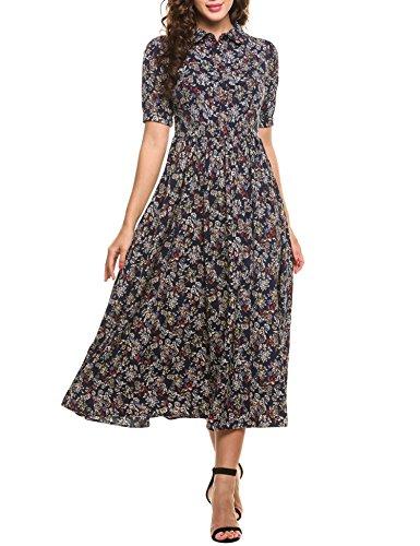 SE MIU Women's Vintage Style Short Sleeve Floral Print Long Maxi - Miu Miu Sale On