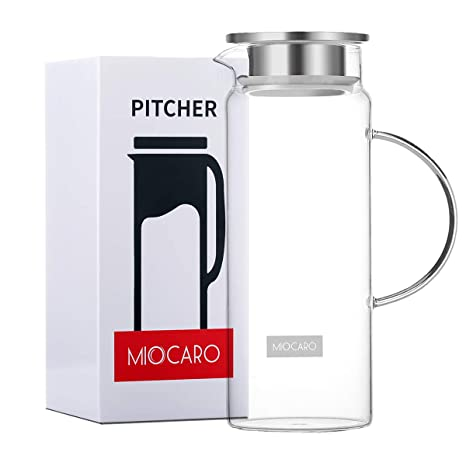 Amazon.com: MIOCARO Jarra de cristal hervidor de agua tapa ...