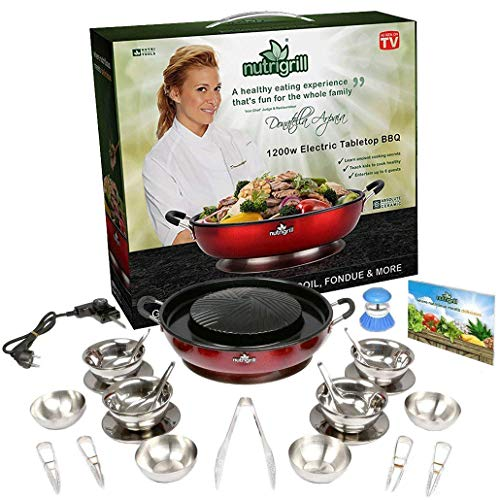 NutriGrill Electric Grill and Steamer: Healthy Smokeless Cooking BBQ Grill with Accessories, Portable Mini Grill with Nonstick Ceramic Surface and Steamer by Nutrigrill (Image #2)
