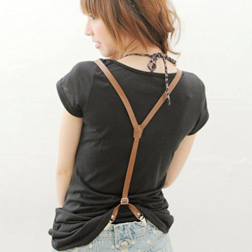 Pu leather suspenders for clip women folder front and back folder fashion