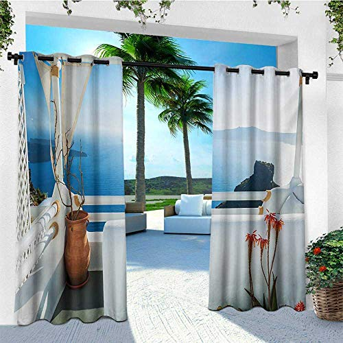 Island European Sham - leinuoyi European, Outdoor Curtain of Lights, Holiday Terrace with Sea at Sunset Architecture on Santorini Island Greece, Outdoor Patio Curtains W84 x L96 Inch Turquoise and Blue