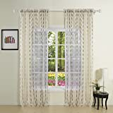 Best IYUEGO Eclipse Curtains Eclipse Curtains Blinds - IYUEGO Die Cut Fancy White Sheer Curtains Rod Review