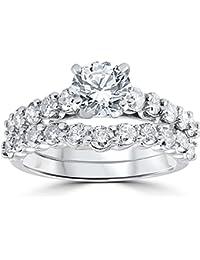2ct Diamond Engagement Wedding Ring Set 14k White Gold