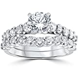 2ct Diamond Engagement Wedding Ring Set 14k White Gold
