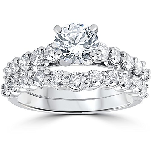 2ct Diamond Engagement Wedding Ring Set 14k White Gold - Size 8