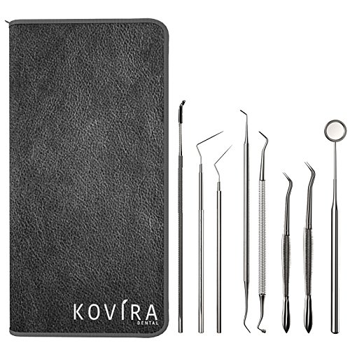 Home Instruments (8 Piece Dental Tooth Health Care Tool Kit with Case by Kovira - Dentist Cleaning Instruments including Dental Pick, Plaque Scraper, Scaling, Sickle Instruments, Mirror - Professional Oral Teeth Set)