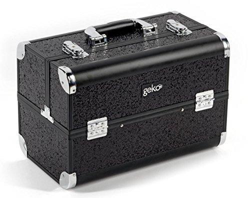 GEKO 1-Piece Vanity Case/Makeup Box, Black Glitter (Train Two Case Tiered Cosmetic)