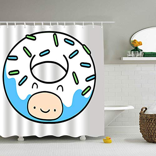 Qilrocm Shower Curtain Fine Finn Donut Print Mom Gift Ideas Polyester Fabric Hooks Included 65 × -