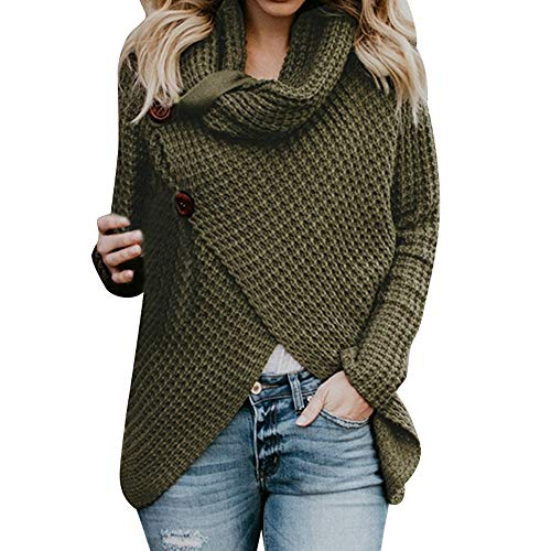 Womens Turtleneck Sweater Warm Knitted Loose Button Wrap Asymmetrical Coat Pullover(L,Green) -