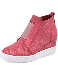 Womens Wedge Sneakers Fashion High Top Side Zipper...