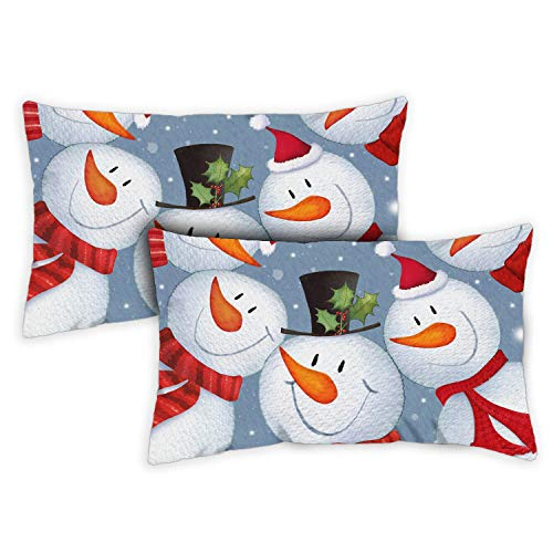 Toland Home Garden Decorative Snowman Selfie Winter Funny Holiday Snowmen 12 x 19 Inch Pillow Case (2-Pack) from Toland Home Garden