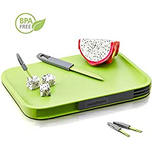 Home and Above Modern Non-Slip Cutting Board with Hidden Compartments for Included Knife and Mini Fork Set, PBA Free Chopping Board, Green