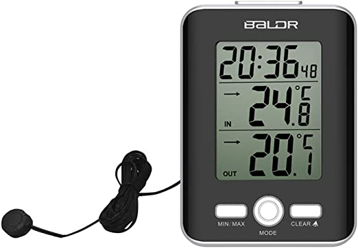 Digital Thermometer Wired Probe Sensor In//Outdoor Temperature Meter Alarm Clock
