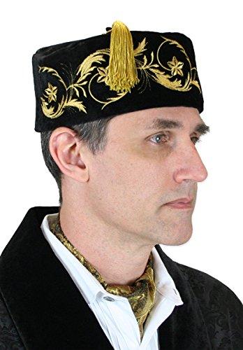 Historical Emporium Men's Deluxe Velvet Embroidered Smoking Cap XL Black