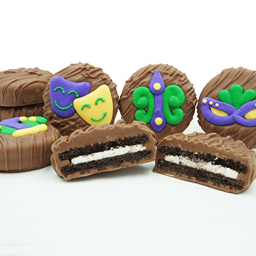 Philadelphia Candies Milk Chocolate Covered OREO Cookies, Mardi Gras Assortment 8 Ounce Gift Box (Feather Mask, Fleur de Lis, Jester Hat, King Cake, Masquerade) for $<!--$14.95-->
