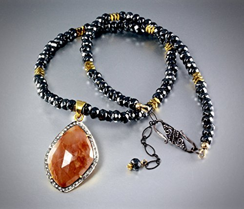 Pavé Orange Sapphire and Blackened Sterling Silver (Orange Sapphire Necklace)