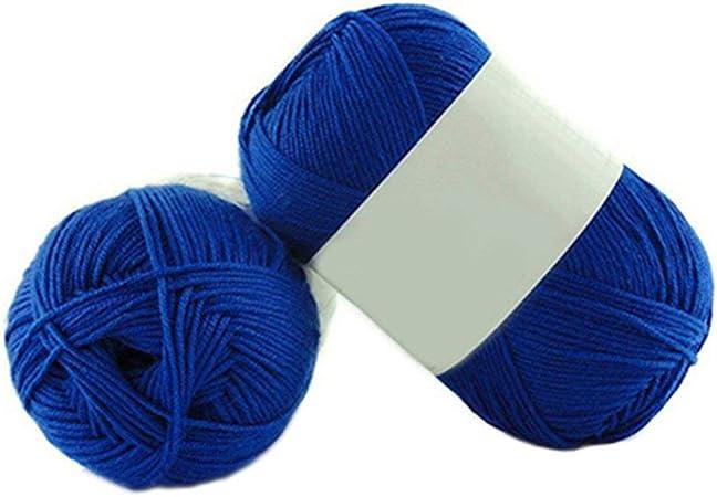 1 lana de bambú para tejer de 50 g por madeja de algodón suave de punto para bebé Amesii #21 Sapphire Blue: Amazon.es: Hogar
