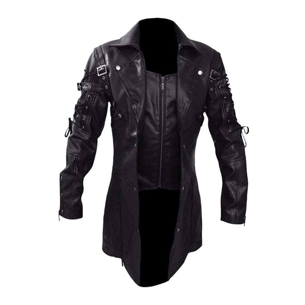 Men Locomotive Jacket, NDGDA Male Vintage Steampunk Gothic Leather Jacket Biker Motorcycle Zipper Long Sleeve Coat Top Blouses