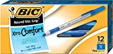 BIC Round Stic Grip Xtra Comfort Ballpoint Pen, Fine Point (0.8mm), Blue, 12-Count