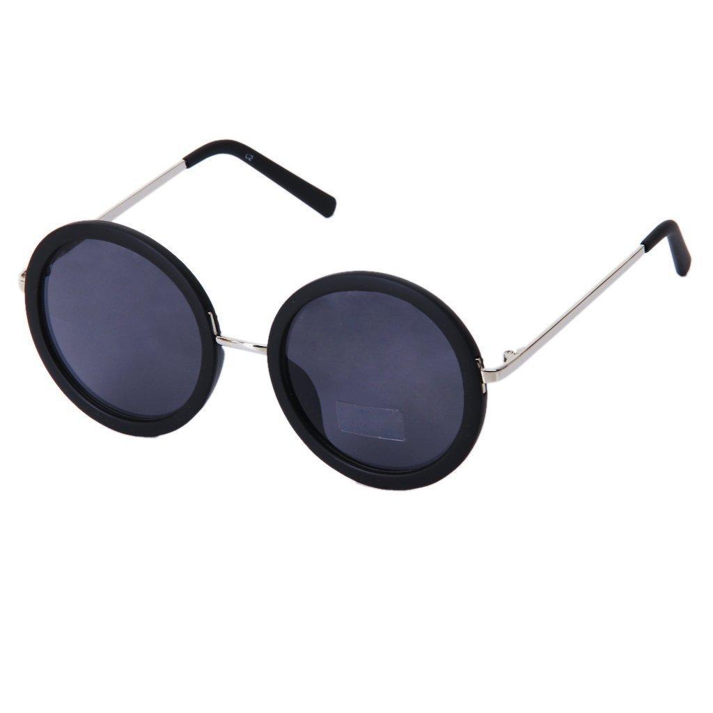 TOOGOO(R) Rotonda Retro Occhiali da sole (nero)