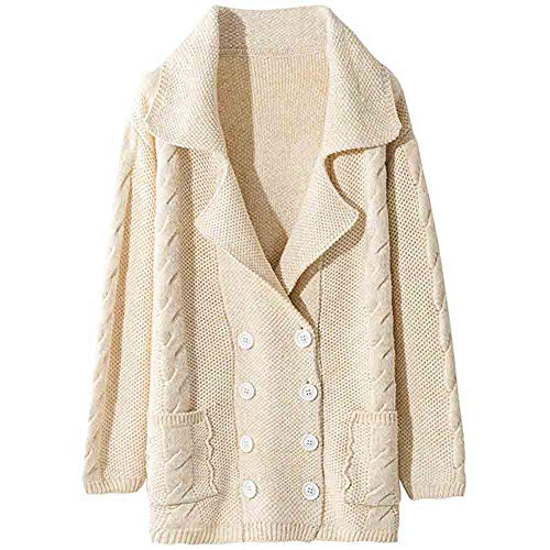 Womens Coats Sale,HULKAY Parka Boho Loose Swing Collar Pure Color Button Knit Boutique Tops Top Fashion Shirt for Women(Beige,XL)
