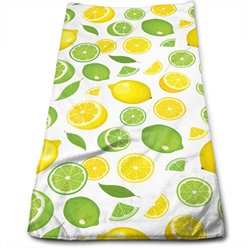 Lemon and Sliced Lemon Facial Wash and Hair Care Towel Pool Gym Bathroom Super Soft Absorbent Towels ()