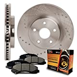Front Premium Cross Drilled Rotors and Ceramic Pads Brake Kit KT114421 | Fits: 2014 14 Fit Hyundai Veloster Turbo