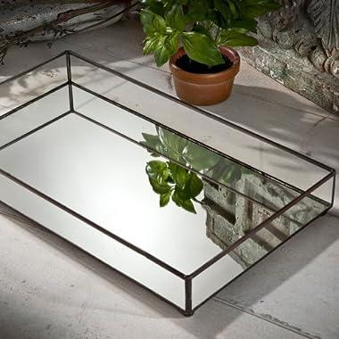 J Devlin TRA 109 Glass JewelryTray with Mirrored Bottom Vanity Organizer Tray 16 3/8 x 9 1/4 x 2 1/4