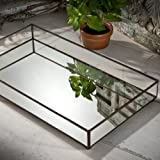 Glass Vanity J Devlin TRA 109 Glass Jewelry Tray Mirror Bottom Vanity Dresser Perfume Tray Organizer