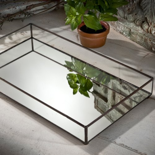 J Devlin TRA 109 Glass Jewelry Tray Mirror Bottom Vanity Dresser Perfume Tray Organizer (Tray Mirrored Large)